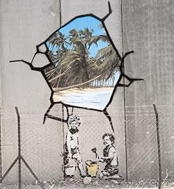 banksy mural on israel's apartheid wall against palestinians palestine see sw1964 p3